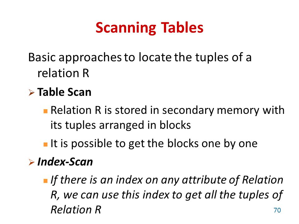 Scanning Tables Basic approaches to locate the tuples of a relation R  Table Scan Relation R is stored in secondary memory with its tuples arranged in blocks It is possible to get the blocks one by one  Index-Scan If there is an index on any attribute of Relation R, we can use this index to get all the tuples of Relation R 70