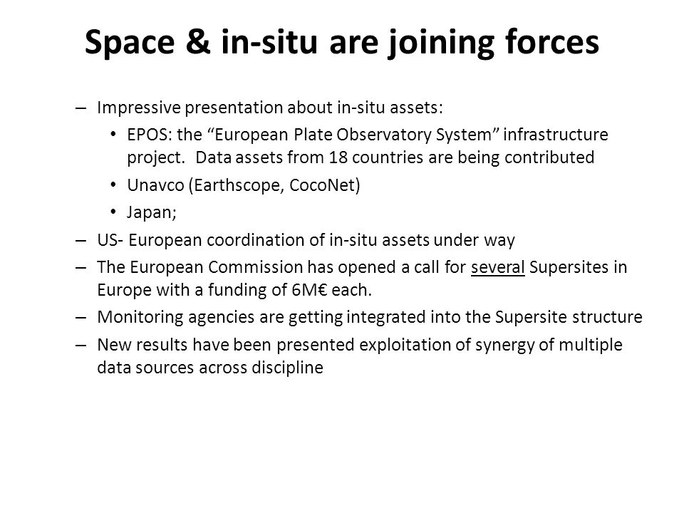 """Space & in-situ are joining forces – Impressive presentation about in-situ assets: EPOS: the """"European Plate Observatory System"""" infrastructure projec"""