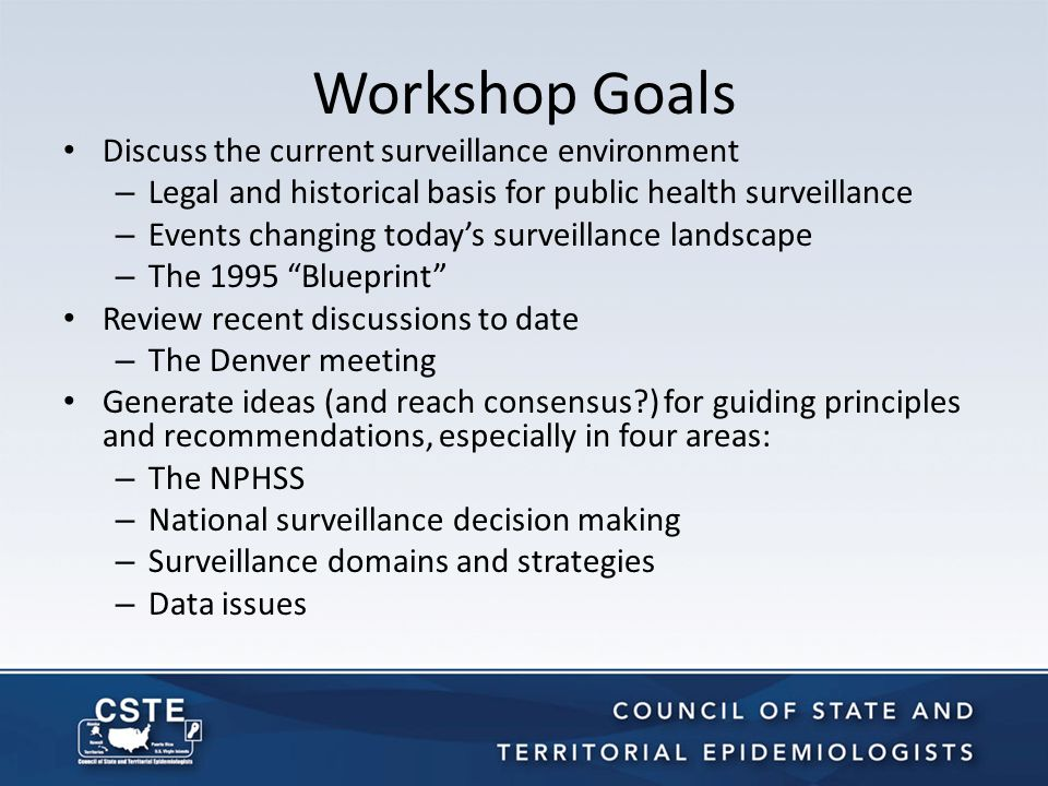 Overview of Current Surveillance Environment Legal and Historical Basis of Surveillance The 1995 Blueprint for a National Public Health Surveillance Strategy for the 21 st Century The Changing Landscape The Denver Surveillance Workshop Unresolved Issues Exercise Discussion