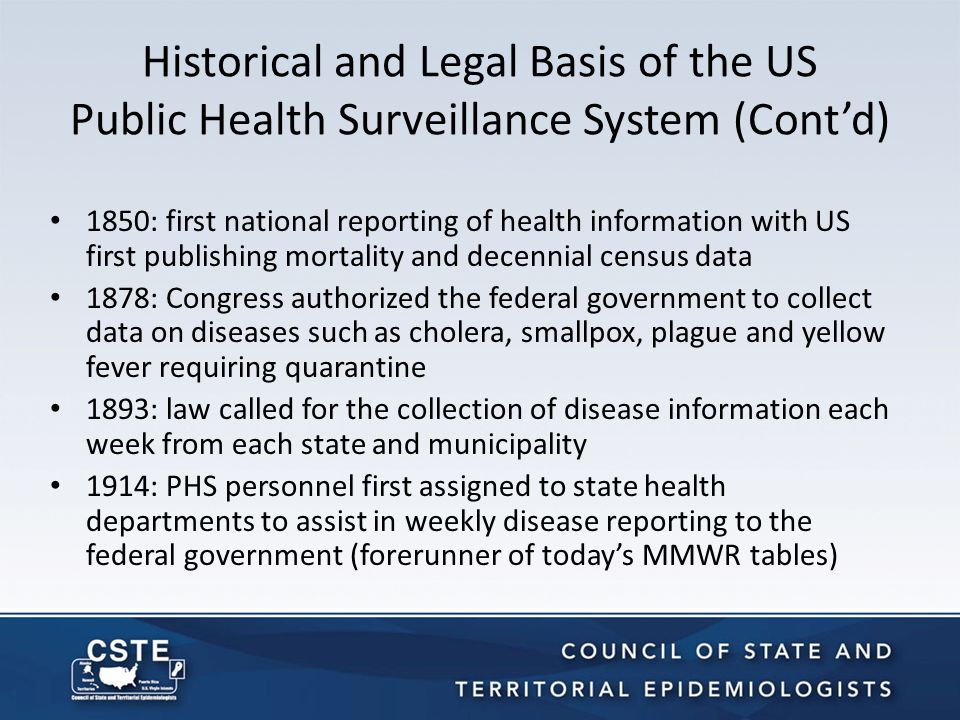 Historical and Legal Basis of the US Public Health Surveillance System (Cont'd) 1951: CDC asked the Association of State and Territorial Health Officers to charge the state epidemiologists with deciding which diseases should be reported nationally.