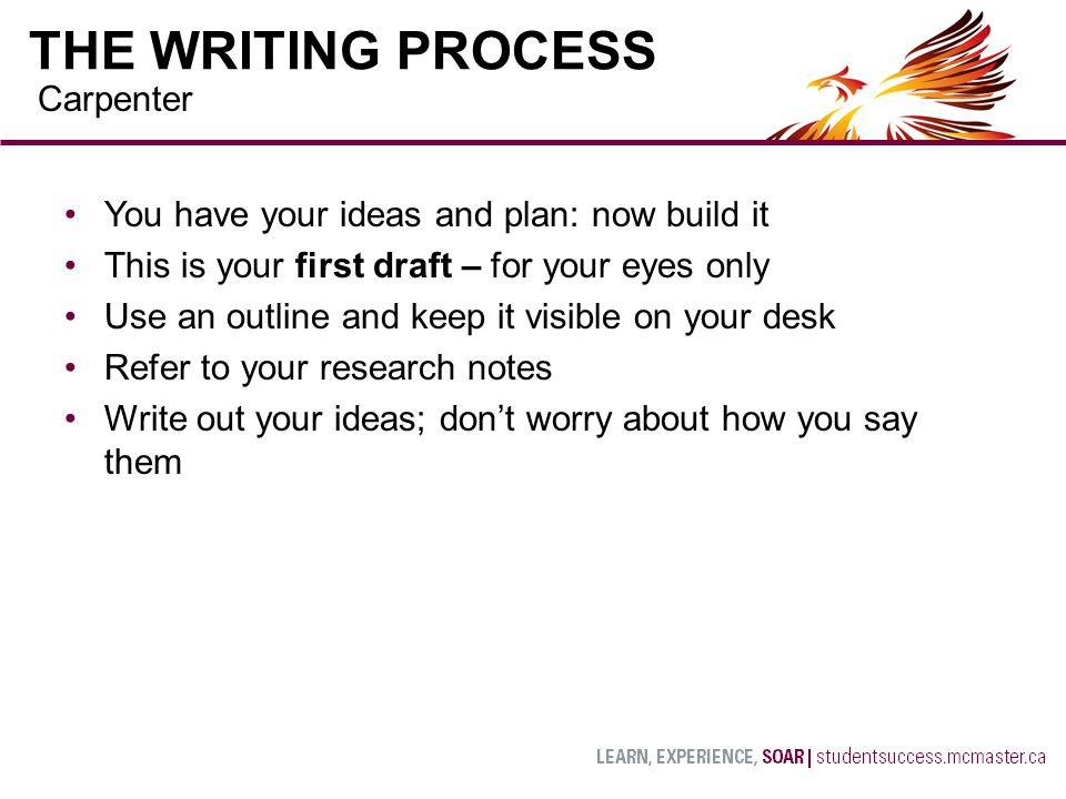 You have your ideas and plan: now build it This is your first draft – for your eyes only Use an outline and keep it visible on your desk Refer to your research notes Write out your ideas; don't worry about how you say them THE WRITING PROCESS Carpenter