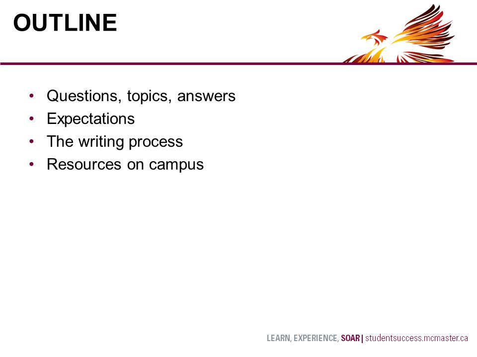 Questions, topics, answers Expectations The writing process Resources on campus OUTLINE