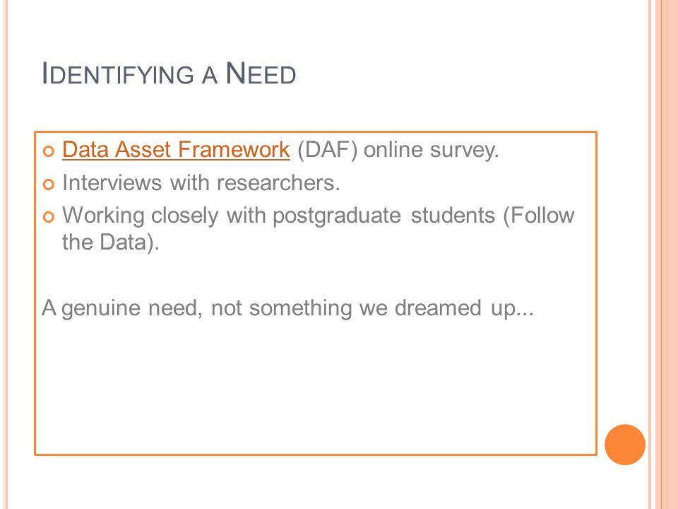 I DENTIFYING A N EED Data Asset FrameworkData Asset Framework (DAF) online survey.