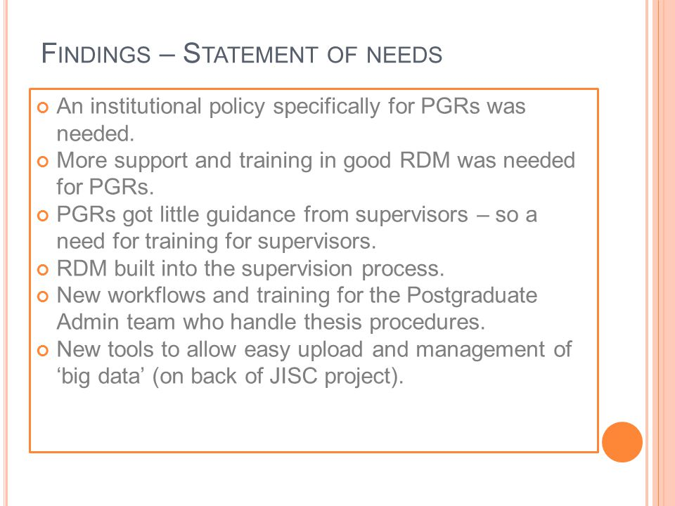 An institutional policy specifically for PGRs was needed.