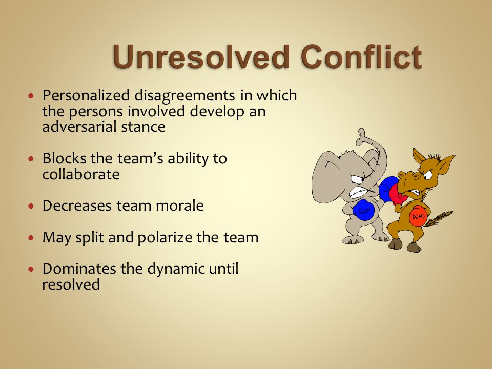 Personalized disagreements in which the persons involved develop an adversarial stance Blocks the team's ability to collaborate Decreases team morale