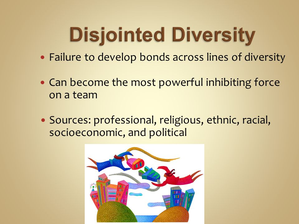 Failure to develop bonds across lines of diversity Can become the most powerful inhibiting force on a team Sources: professional, religious, ethnic, racial, socioeconomic, and political