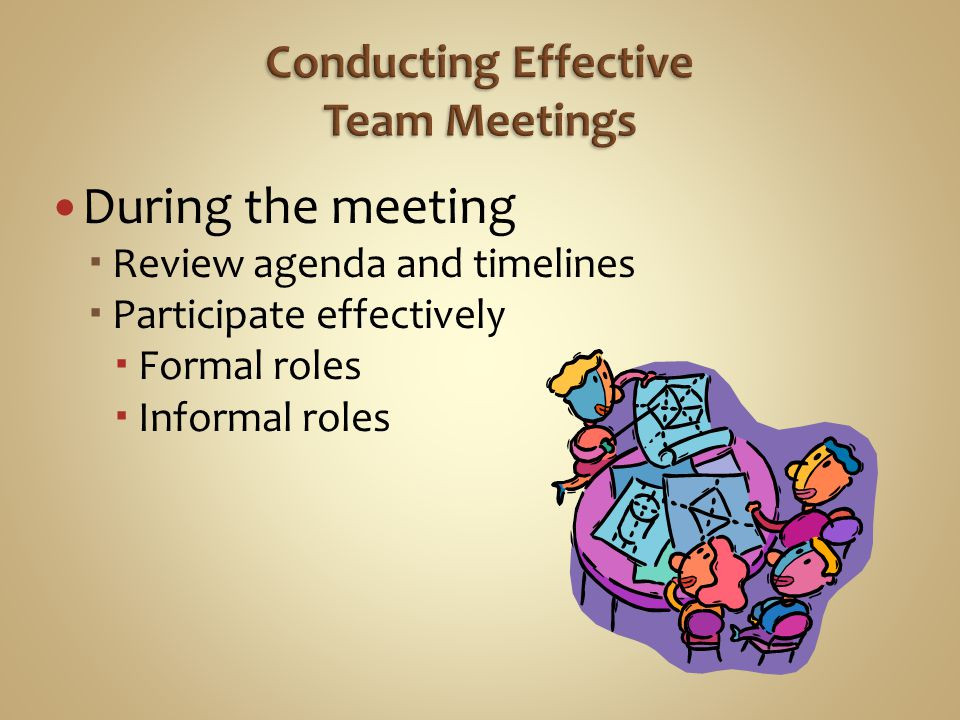 During the meeting  Review agenda and timelines  Participate effectively  Formal roles  Informal roles