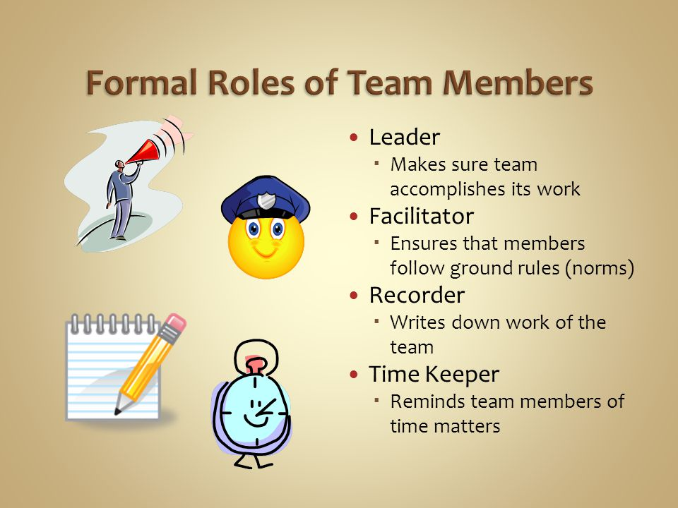 Leader  Makes sure team accomplishes its work Facilitator  Ensures that members follow ground rules (norms) Recorder  Writes down work of the team