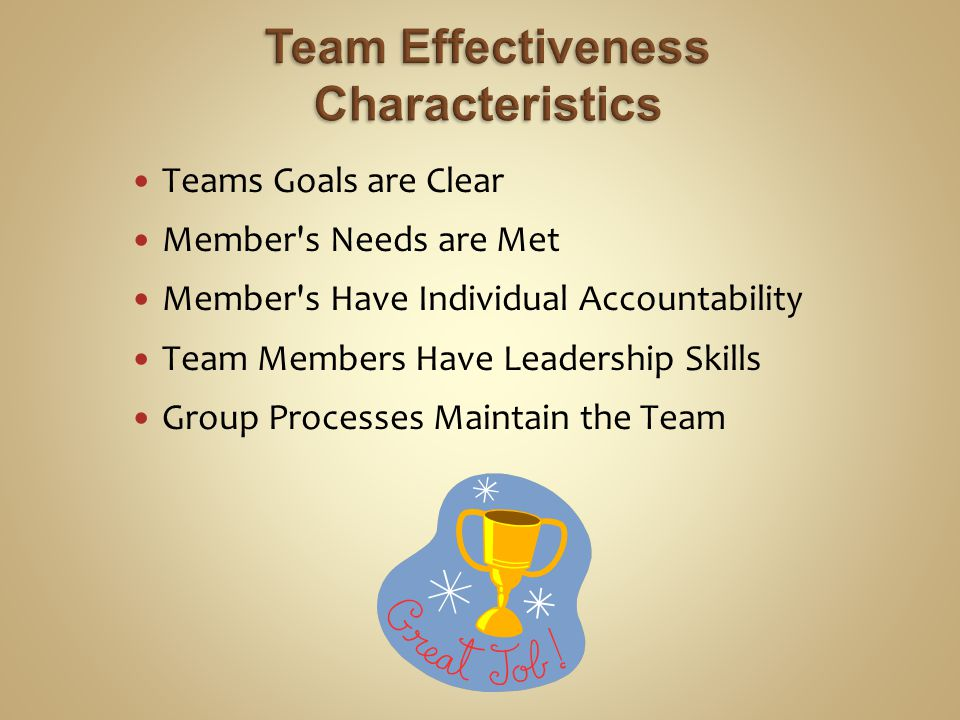 Teams Goals are Clear Member s Needs are Met Member s Have Individual Accountability Team Members Have Leadership Skills Group Processes Maintain the Team
