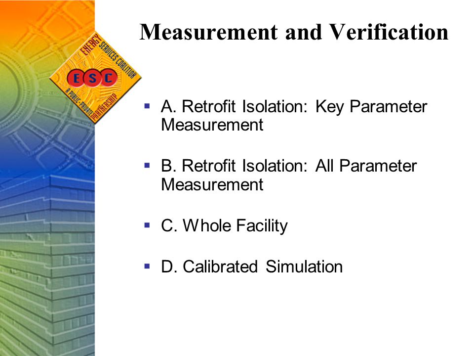Measurement and Verification  A.Retrofit Isolation: Key Parameter Measurement  B.