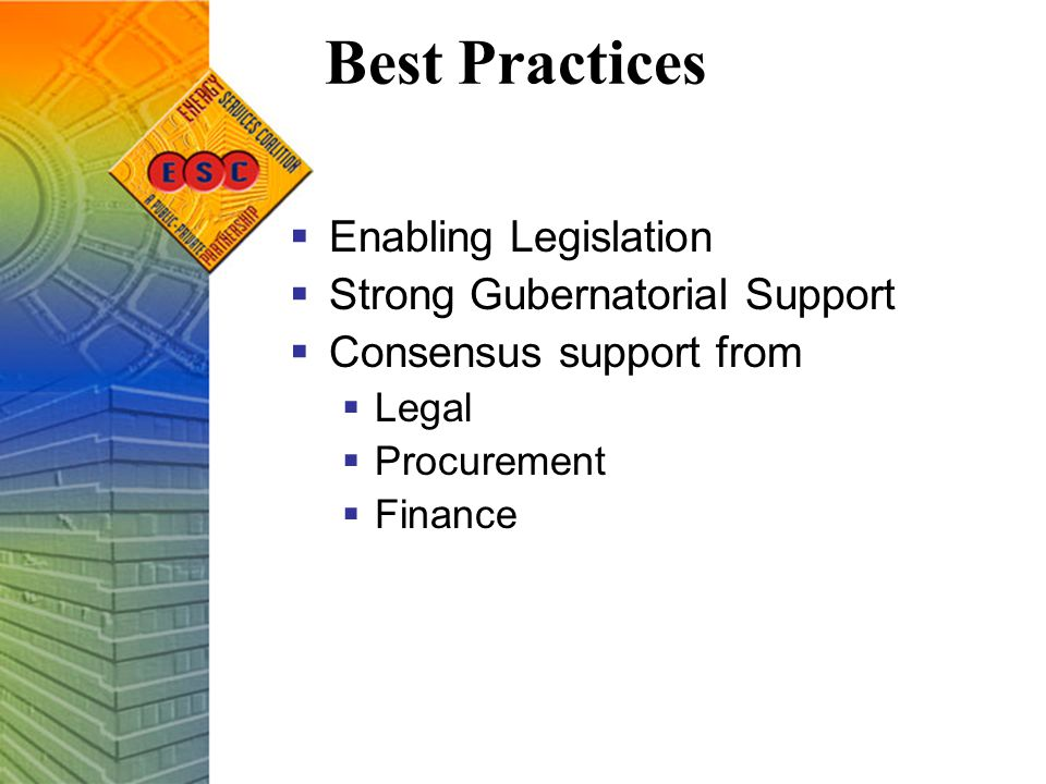 Best Practices  Enabling Legislation  Strong Gubernatorial Support  Consensus support from  Legal  Procurement  Finance