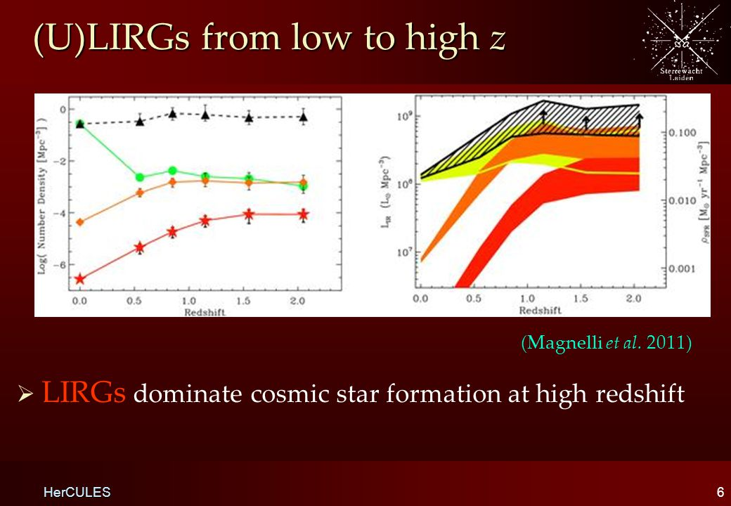 (U)LIRGs from low to high z   LIRGs dominate cosmic star formation at high redshift 6 HerCULES (Magnelli et al.