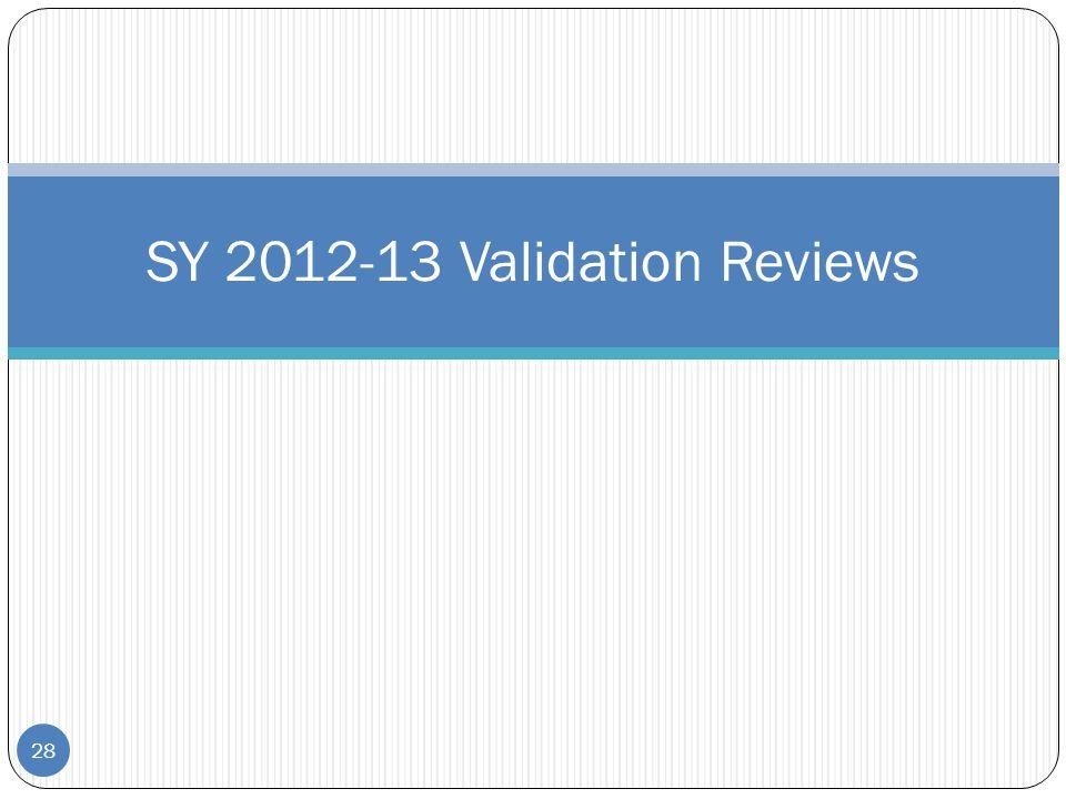28 SY 2012-13 Validation Reviews