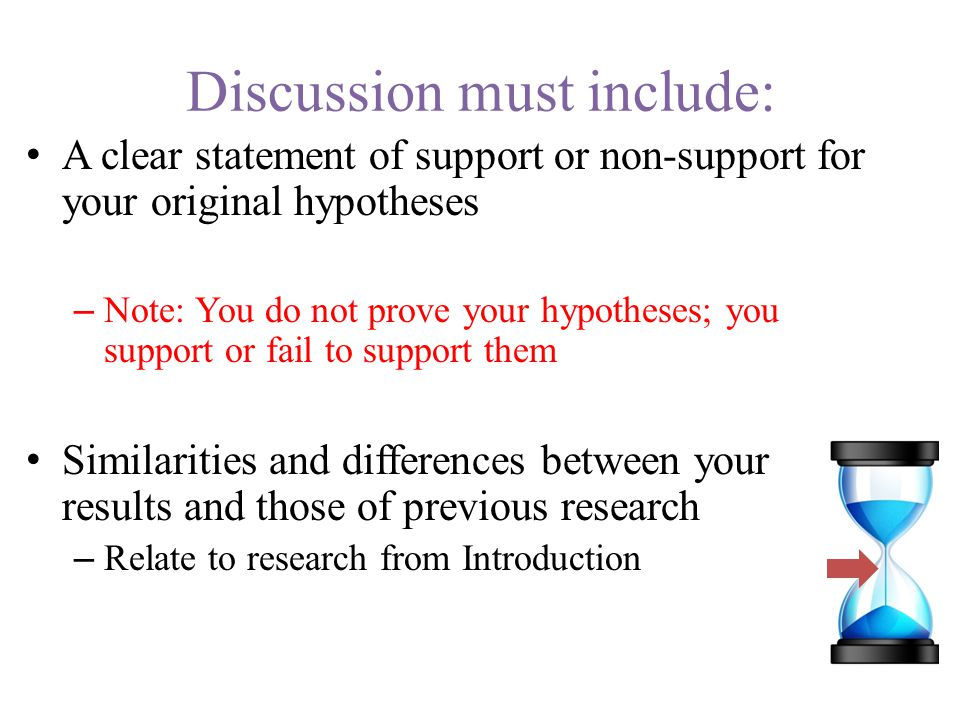 Implications Implication (noun): the conclusion that can be drawn from something although it is not explicitly stated Evaluate and interpret the implications of the results with respect to your hypotheses Include a discussion of the theoretical, clinical or practical implications of your results Implication.