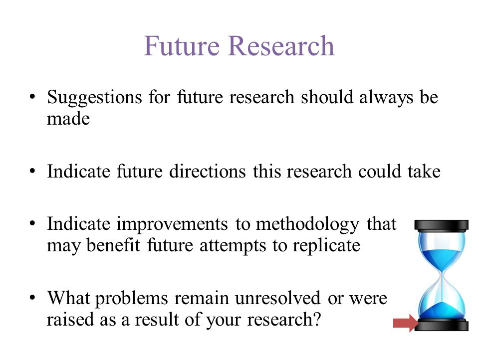 Future Research Suggestions for future research should always be made Indicate future directions this research could take Indicate improvements to methodology that may benefit future attempts to replicate What problems remain unresolved or were raised as a result of your research