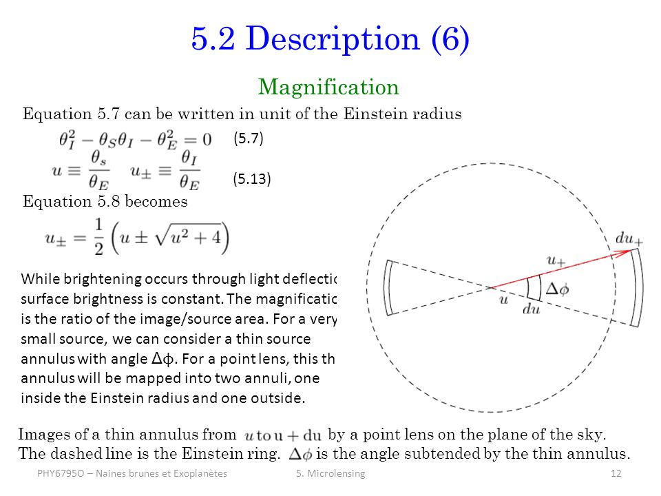 5.2 Description (6) Magnification Equation 5.7 can be written in unit of the Einstein radius Equation 5.8 becomes 5.