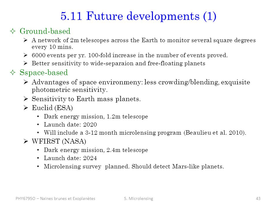5.11 Future developments (1)  Ground-based  A network of 2m telescopes across the Earth to monitor several square degrees every 10 mins.