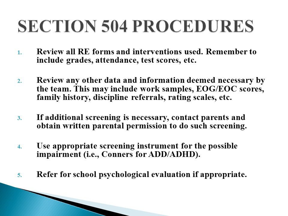 1. Review all RE forms and interventions used.