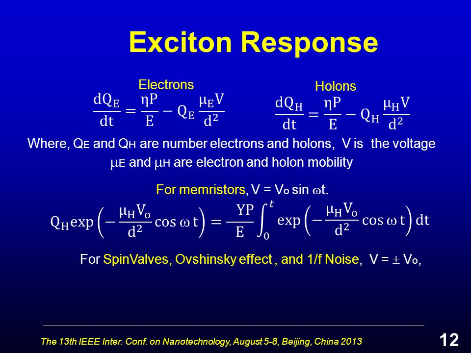Exciton Response The 13th IEEE Inter. Conf. on Nanotechnology, August 5-8, Beijing, China 2013 Where, Q E and Q H are number electrons and holons, V i