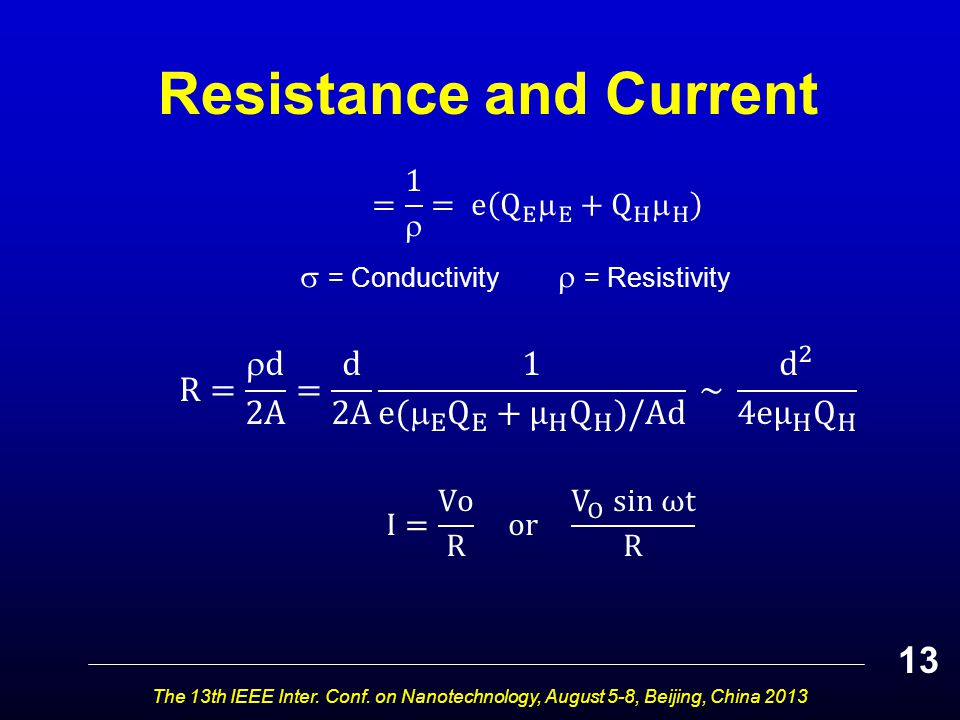 Resistance and Current The 13th IEEE Inter. Conf. on Nanotechnology, August 5-8, Beijing, China 2013 13  = Conductivity  = Resistivity