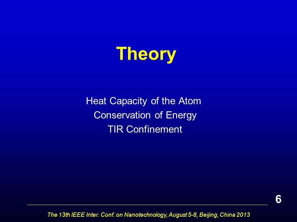 Theory Heat Capacity of the Atom Conservation of Energy TIR Confinement 6