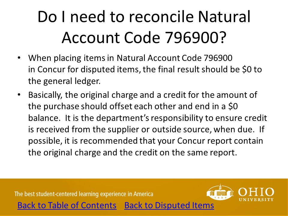 Do I need to reconcile Natural Account Code 796900? When placing items in Natural Account Code 796900 in Concur for disputed items, the final result s