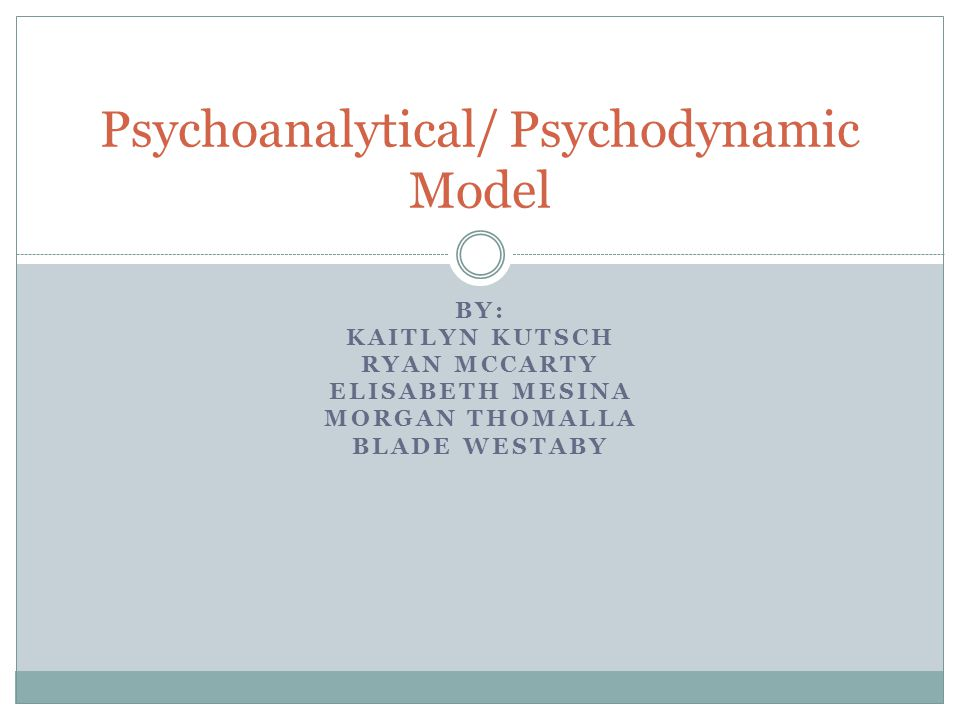 BY: KAITLYN KUTSCH RYAN MCCARTY ELISABETH MESINA MORGAN THOMALLA BLADE WESTABY Psychoanalytical/ Psychodynamic Model
