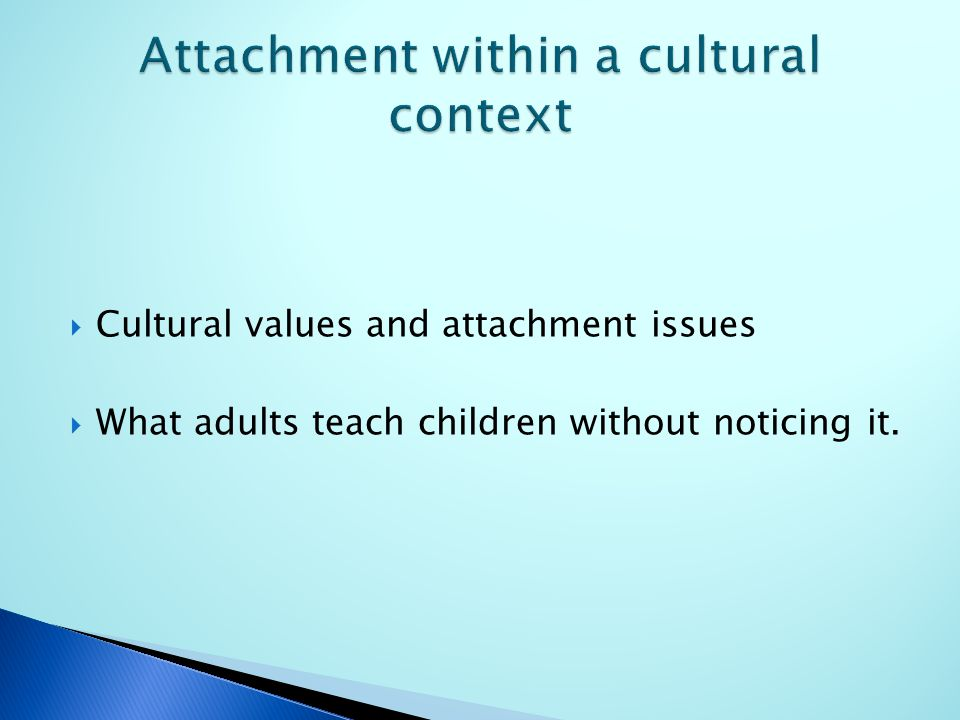  Cultural values and attachment issues  What adults teach children without noticing it.