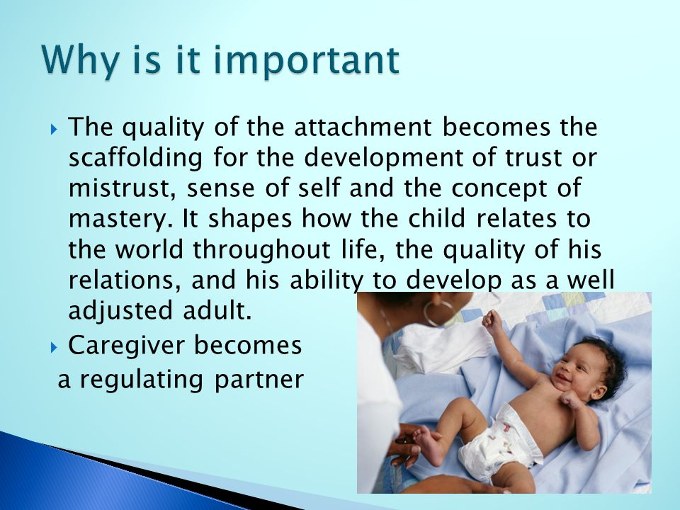  The quality of the attachment becomes the scaffolding for the development of trust or mistrust, sense of self and the concept of mastery.