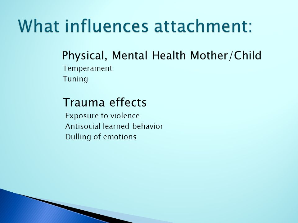 Physical, Mental Health Mother/Child Temperament Tuning Trauma effects Exposure to violence Antisocial learned behavior Dulling of emotions