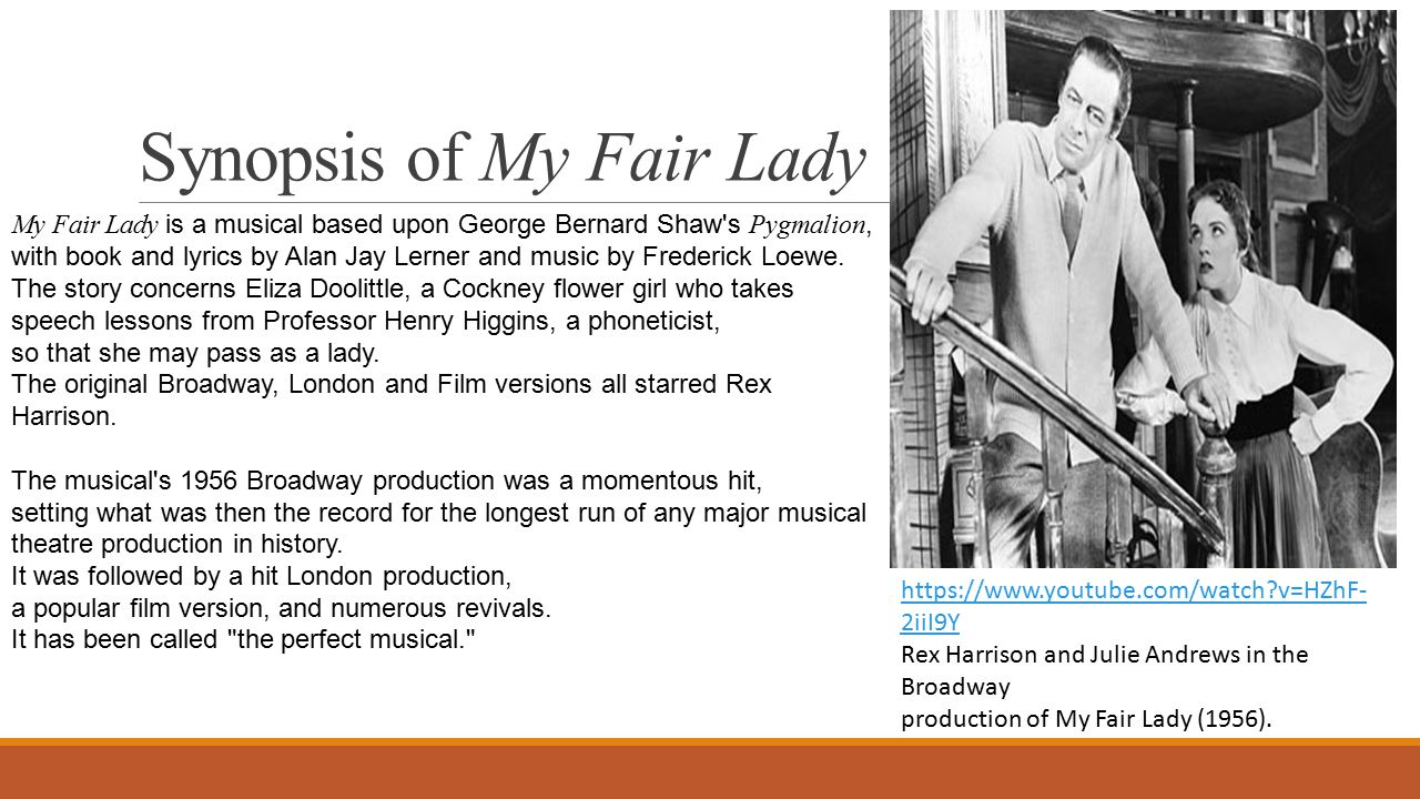 Synopsis of My Fair Lady https://www.youtube.com/watch?v=HZhF- 2iiI9Y Rex Harrison and Julie Andrews in the Broadway production of My Fair Lady (1956).