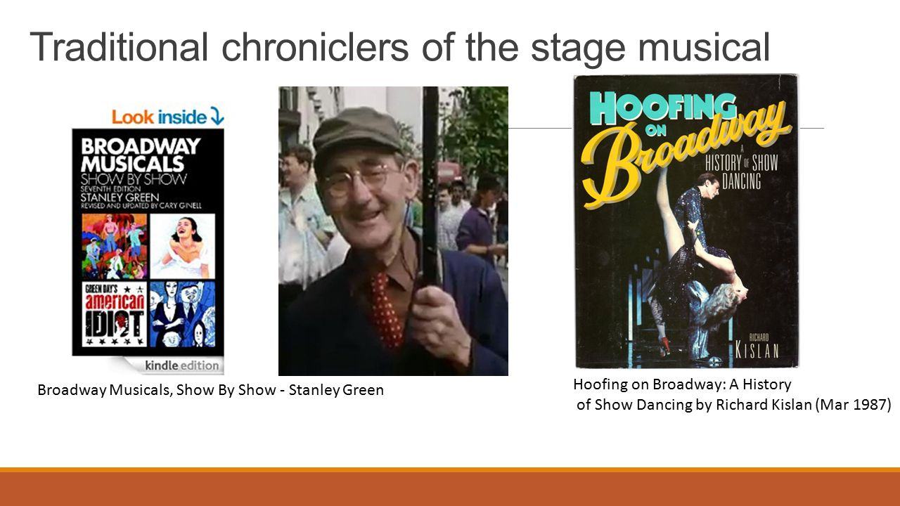 Traditional chroniclers of the stage musical Hoofing on Broadway: A History of Show Dancing by Richard Kislan (Mar 1987) Broadway Musicals, Show By Show - Stanley Green