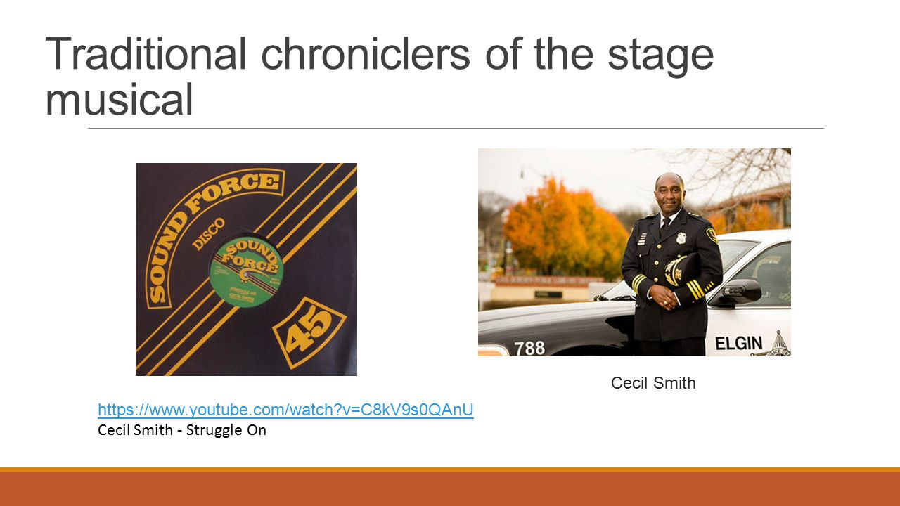 Traditional chroniclers of the stage musical Cecil Smith https://www.youtube.com/watch?v=C8kV9s0QAnU Cecil Smith - Struggle On