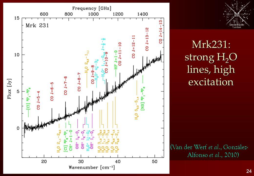 Mrk231: strong H 2 O lines, high excitation 24 Molecular gas in (U)LIRGs (Van der Werf et al., González- Alfonso et al., 2010)