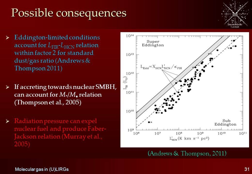 Possible consequences   Eddington-limited conditions account for L FIR -L HCN relation within factor 2 for standard dust/gas ratio (Andrews & Thompson 2011)   If accreting towards nuclear SMBH, can account for M * /M  relation (Thompson et al., 2005)   Radiation pressure can expel nuclear fuel and produce Faber- Jackson relation (Murray et al., 2005) 31 Molecular gas in (U)LIRGs (Andrews & Thompson, 2011)