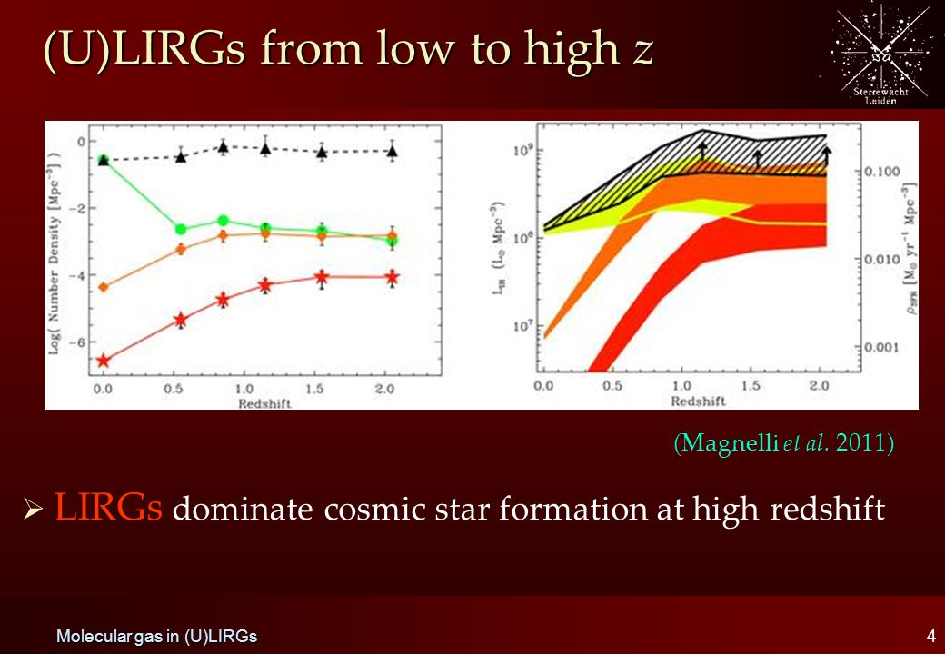 (U)LIRGs from low to high z   LIRGs dominate cosmic star formation at high redshift 4 Molecular gas in (U)LIRGs (Magnelli et al.