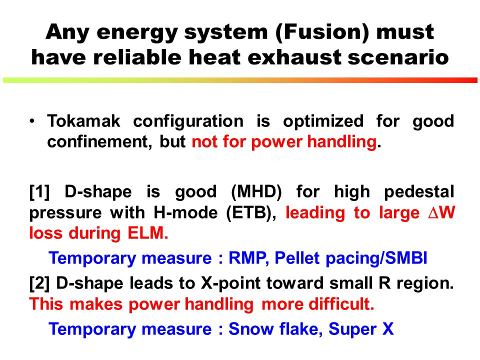 Any energy system (Fusion) must have reliable heat exhaust scenario Tokamak configuration is optimized for good confinement, but not for power handlin