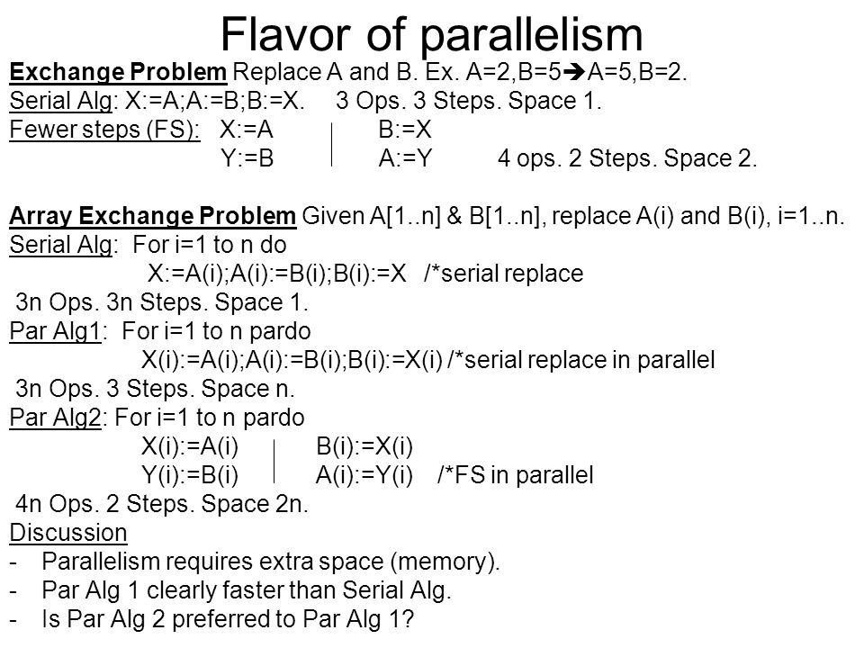 Flavor of parallelism Exchange Problem Replace A and B.