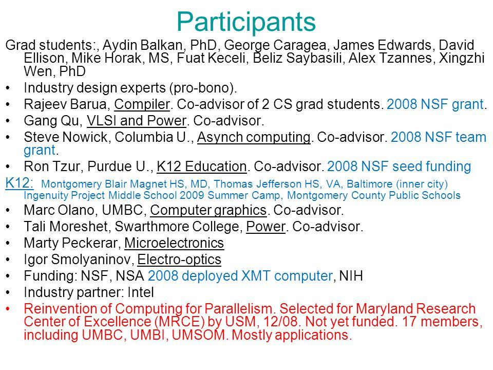 Participants Grad students:, Aydin Balkan, PhD, George Caragea, James Edwards, David Ellison, Mike Horak, MS, Fuat Keceli, Beliz Saybasili, Alex Tzannes, Xingzhi Wen, PhD Industry design experts (pro-bono).
