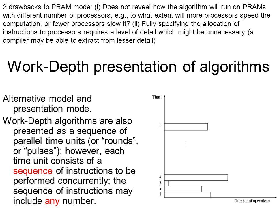 Work-Depth presentation of algorithms Alternative model and presentation mode.