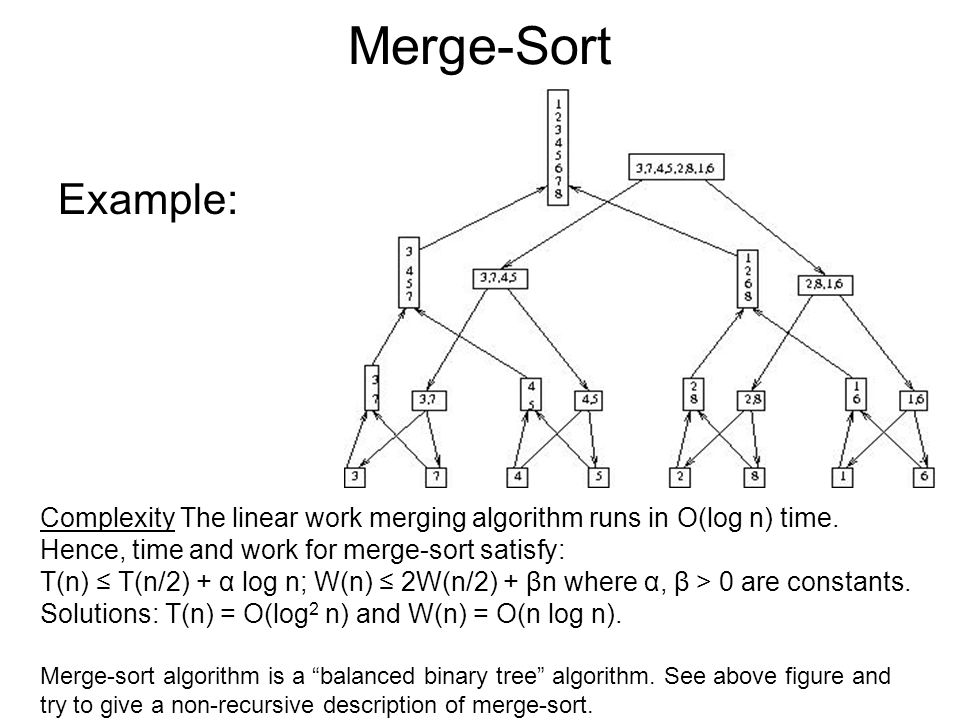 Merge-Sort Example: Complexity The linear work merging algorithm runs in O(log n) time.