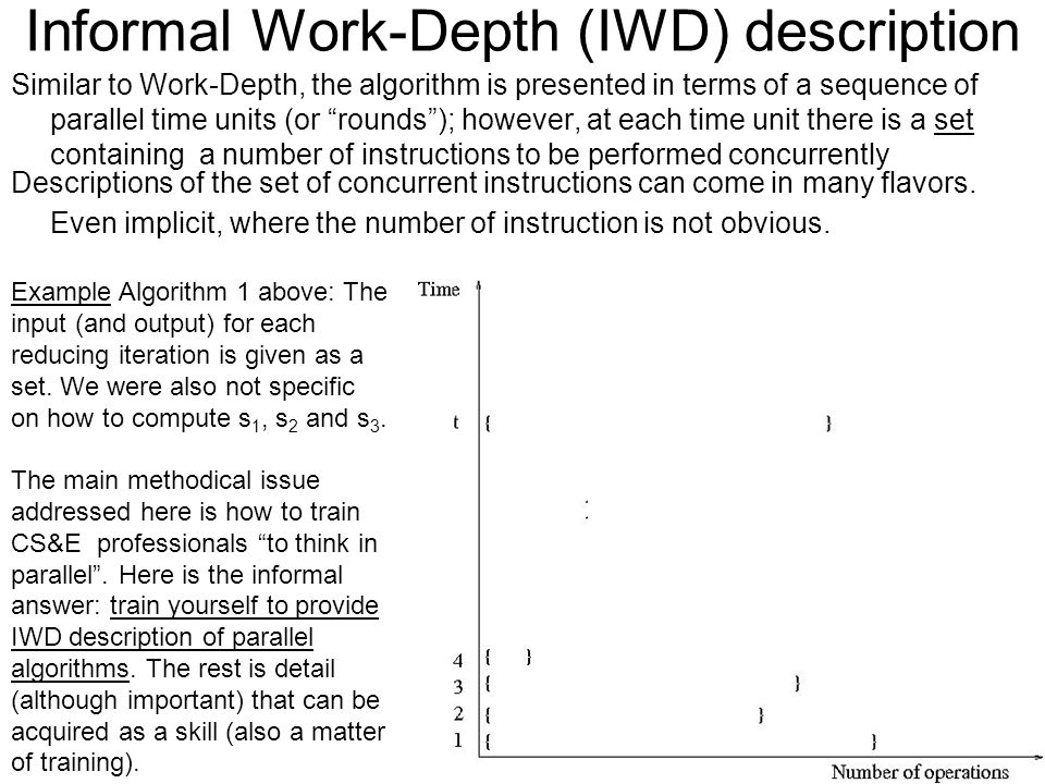 Informal Work-Depth (IWD) description Similar to Work-Depth, the algorithm is presented in terms of a sequence of parallel time units (or rounds ); however, at each time unit there is a set containing a number of instructions to be performed concurrently Descriptions of the set of concurrent instructions can come in many flavors.