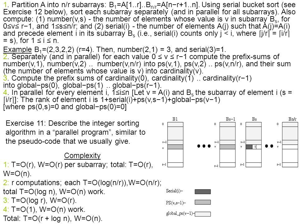 1. Partition A into n/r subarrays: B 1 =A[1..r]..B n/r =A[n−r+1..n].