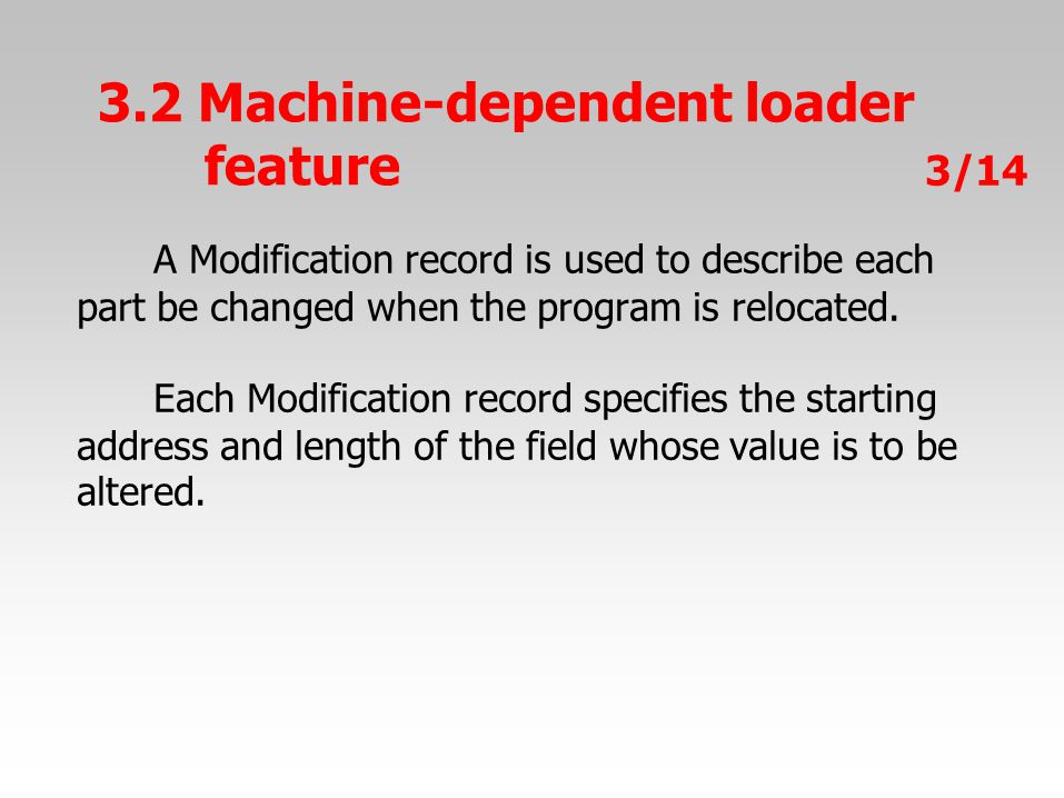 A Modification record is used to describe each part be changed when the program is relocated.