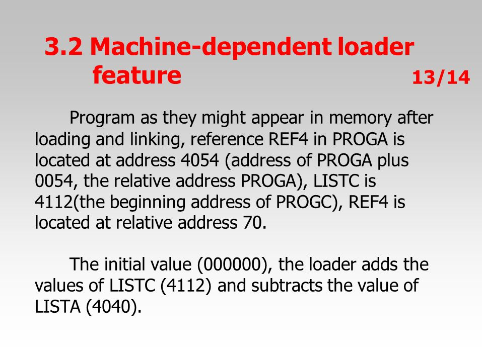 Program as they might appear in memory after loading and linking, reference REF4 in PROGA is located at address 4054 (address of PROGA plus 0054, the relative address PROGA), LISTC is 4112(the beginning address of PROGC), REF4 is located at relative address 70.