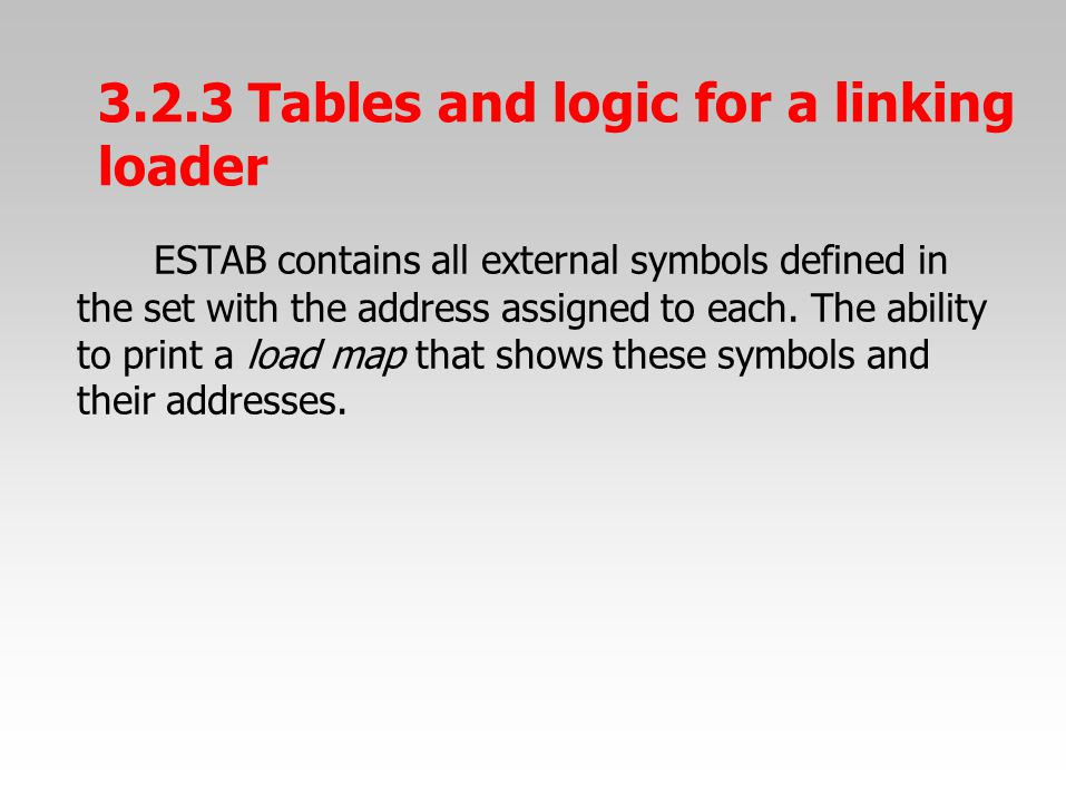 ESTAB contains all external symbols defined in the set with the address assigned to each.