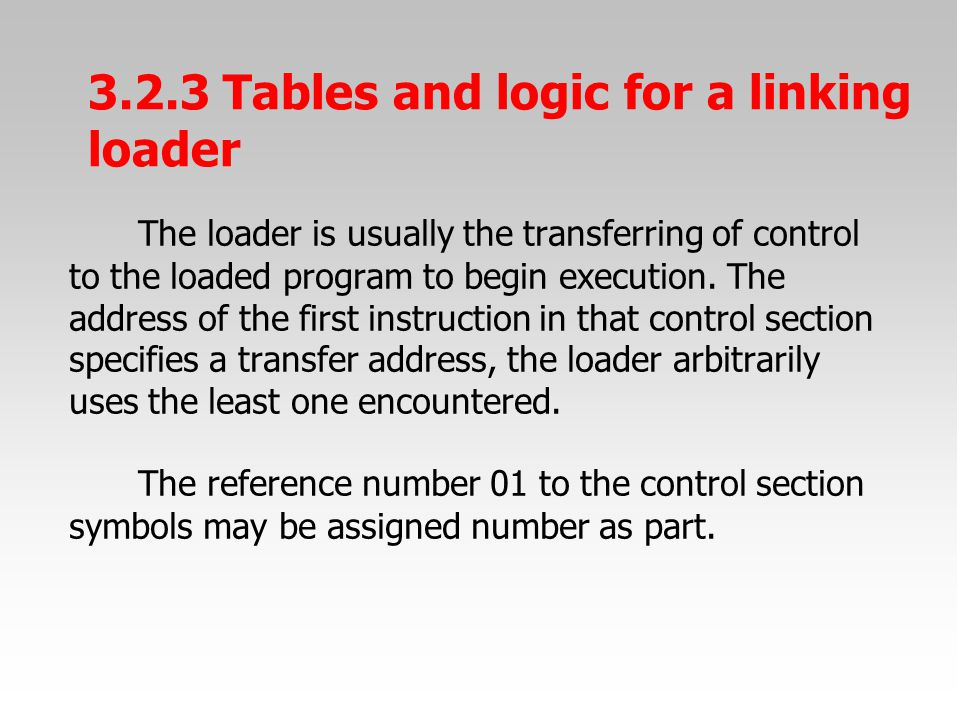 The loader is usually the transferring of control to the loaded program to begin execution.