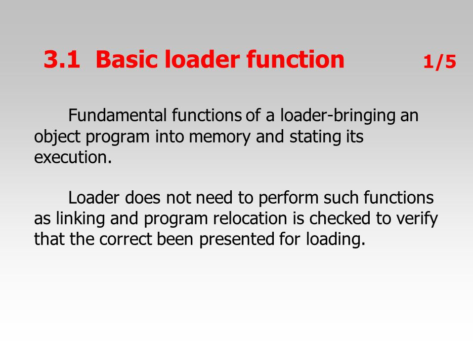 Fundamental functions of a loader-bringing an object program into memory and stating its execution.