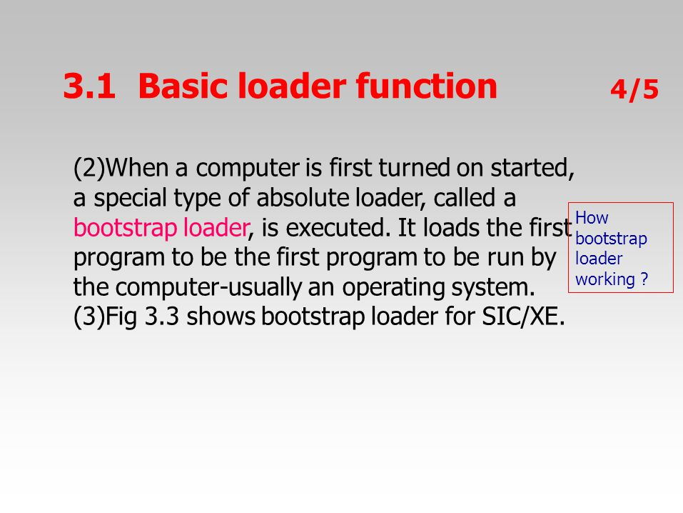 3.1Basicloaderfunction 4/54/5 (2)When a computer is first turned on started, a special type of absolute loader, called a bootstrap loader, is executed.