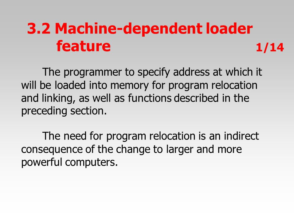 The programmer to specify address at which it will be loaded into memory for program relocation and linking, as well as functions described in the preceding section.